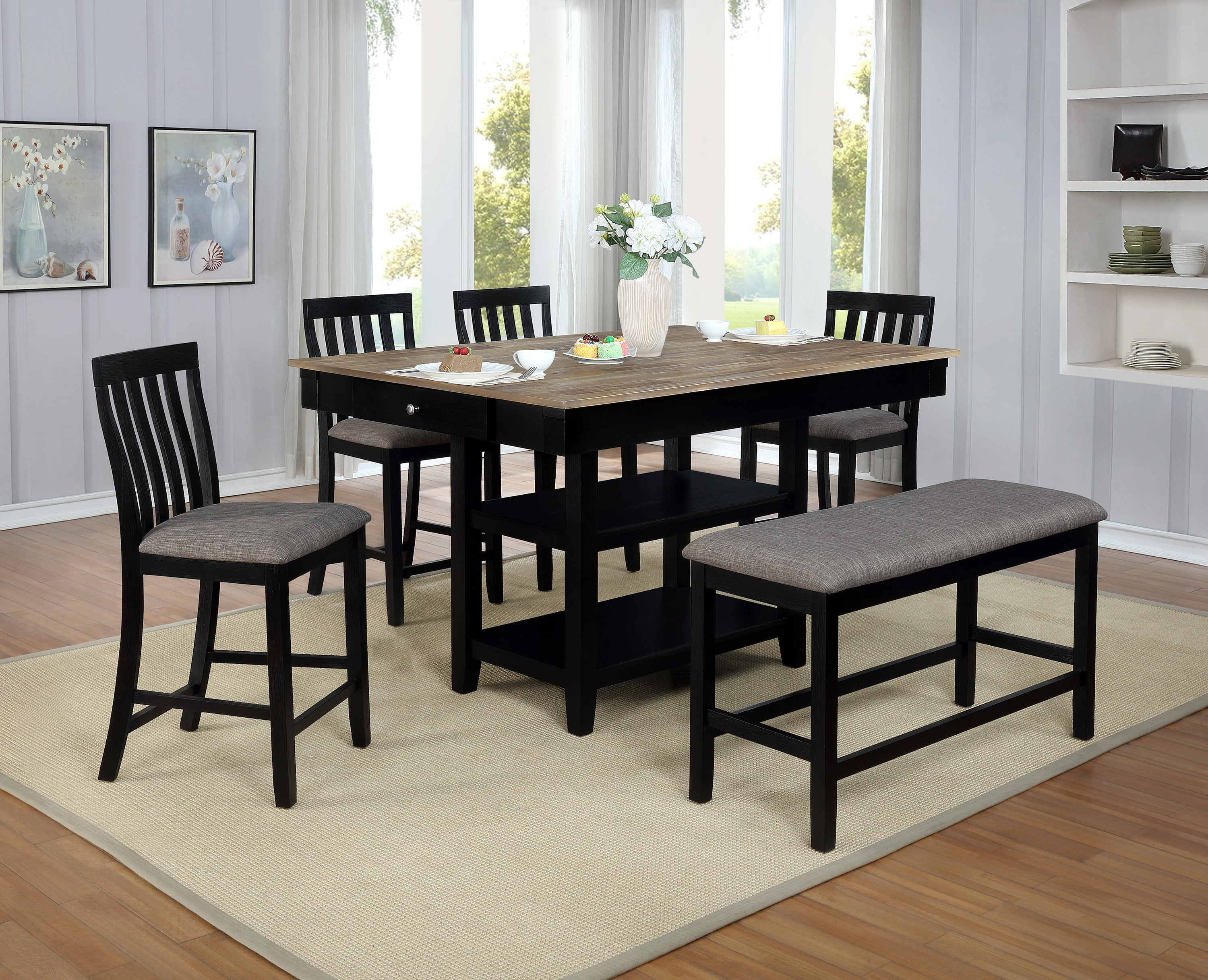 Nina Black Gray Counter Dining Set My Furniture Place