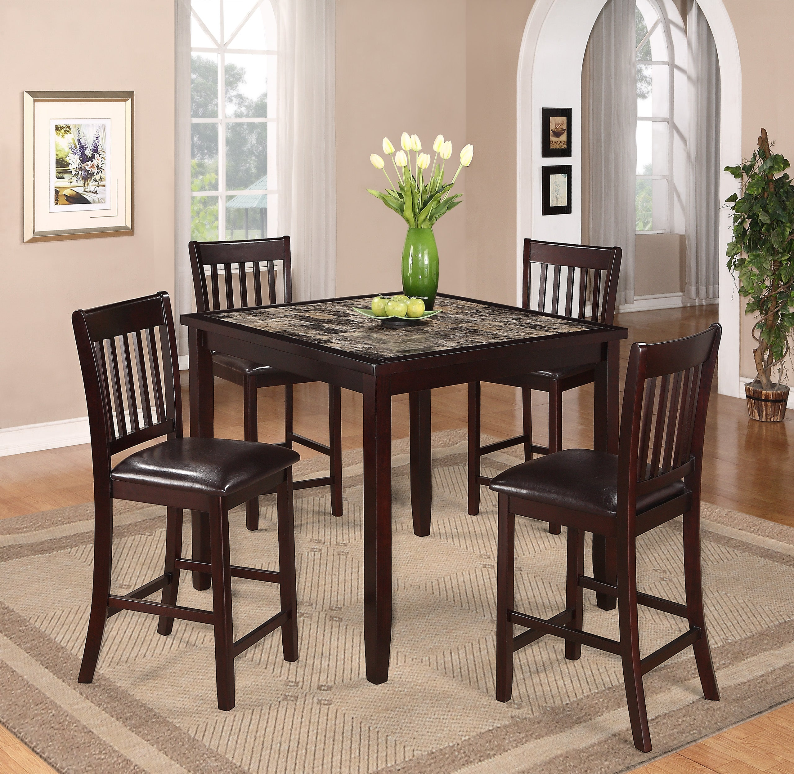 Checkerboard Marble Counter Height Dining Set