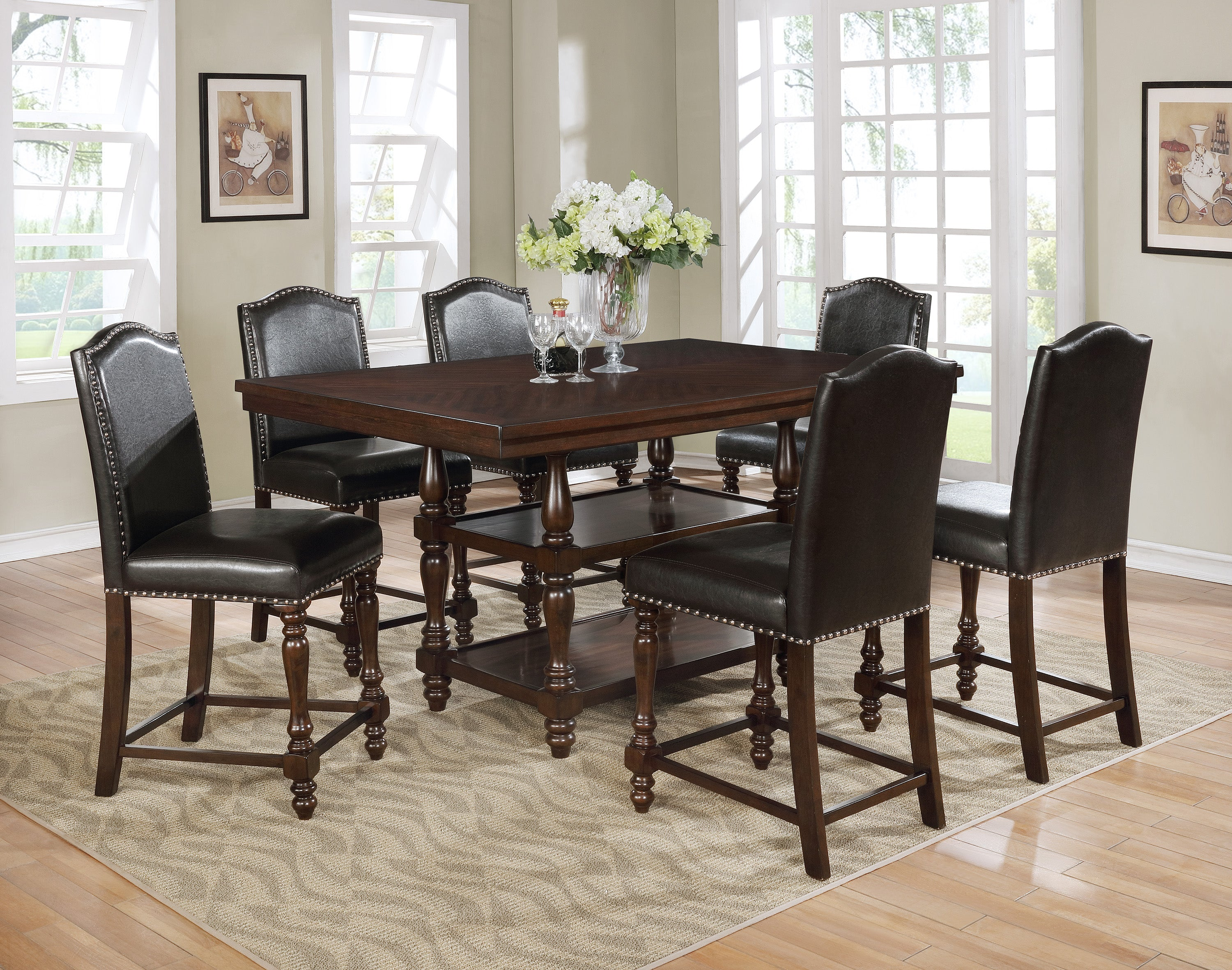 Langley Cherry Counter Height Dining Set Langley