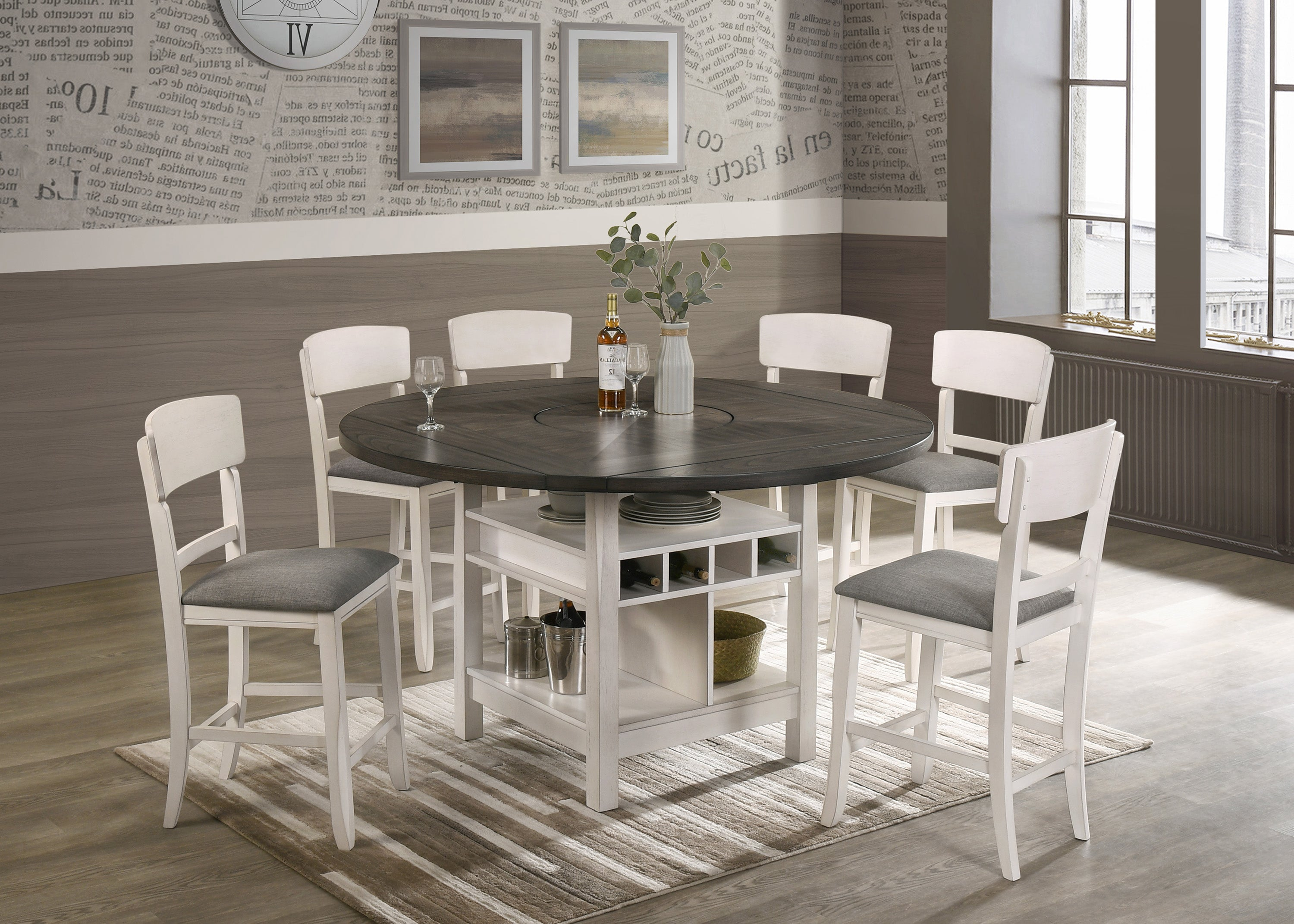 Chalk White Drop Leaf Counter Height Dining Set