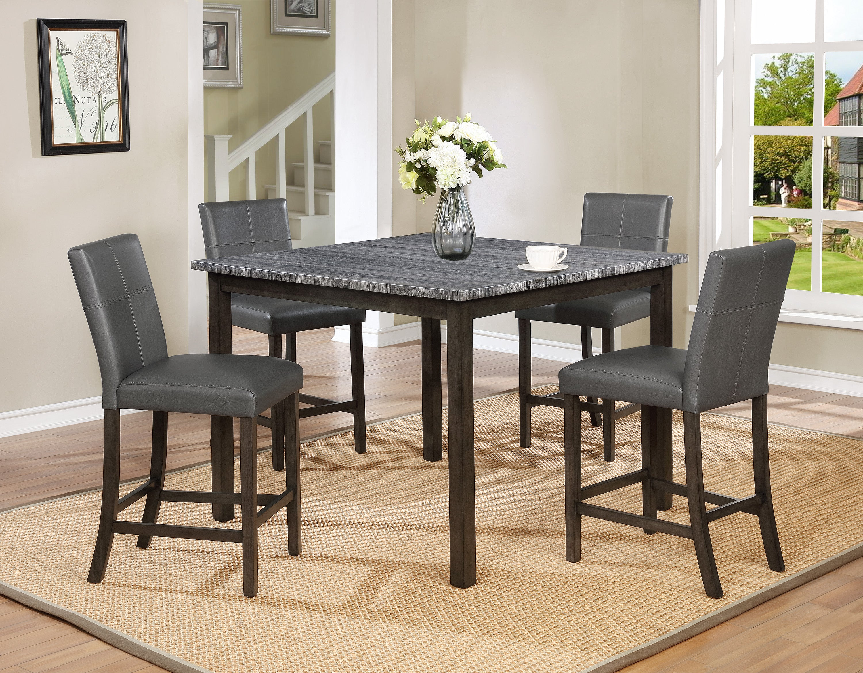 Pompei Gray Marble Counter Height Dining Set
