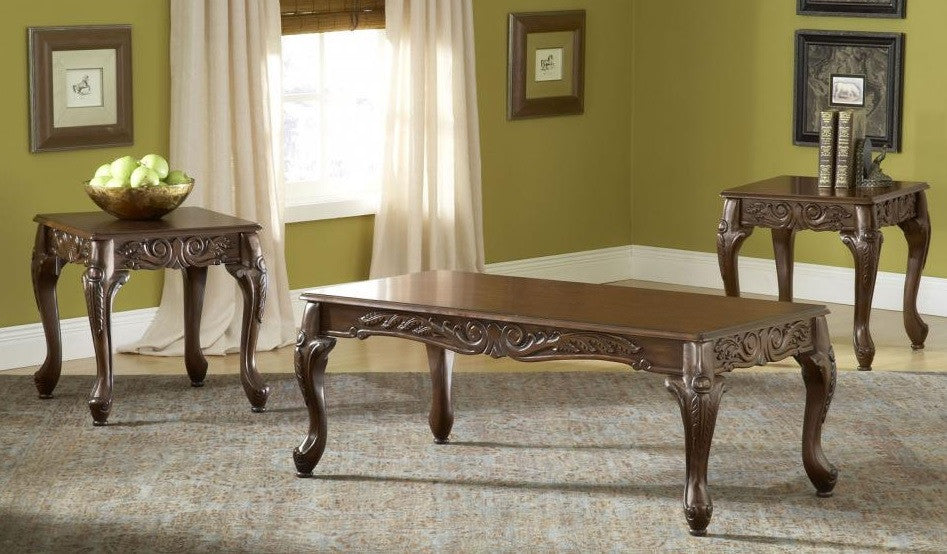 Carved Cherry Coffee Table Set By Serta Upholstery , Occasional Table Sets    Serta Upholstery,