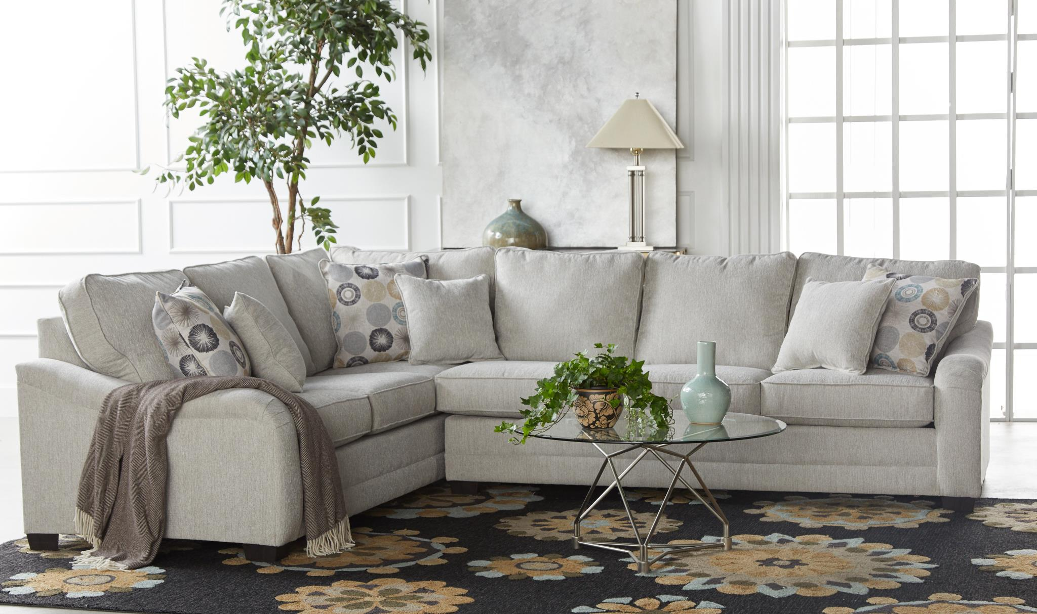 Linen and Coral Corner Sectional