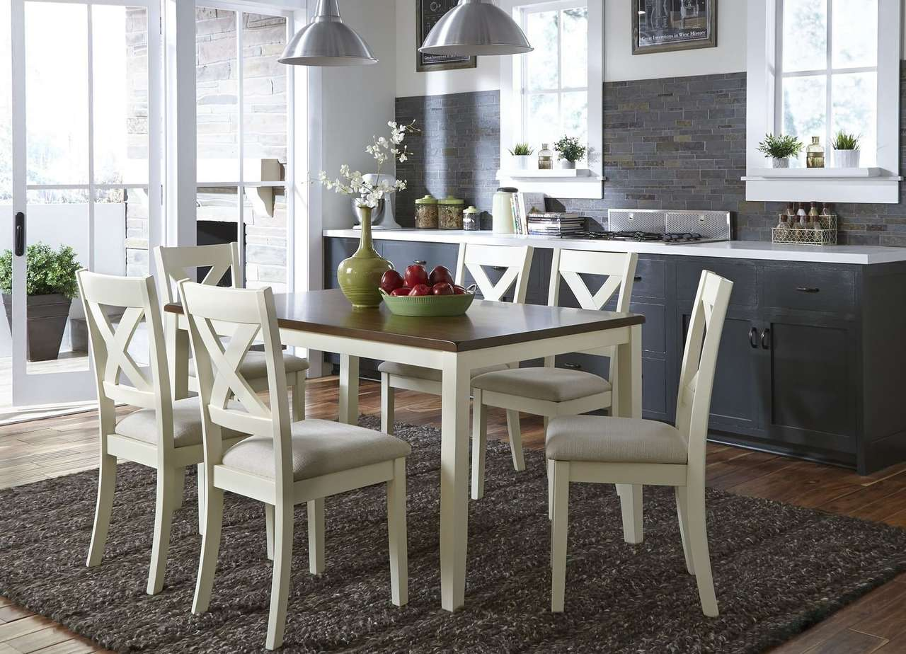 Cream and Brown Dining Room Set