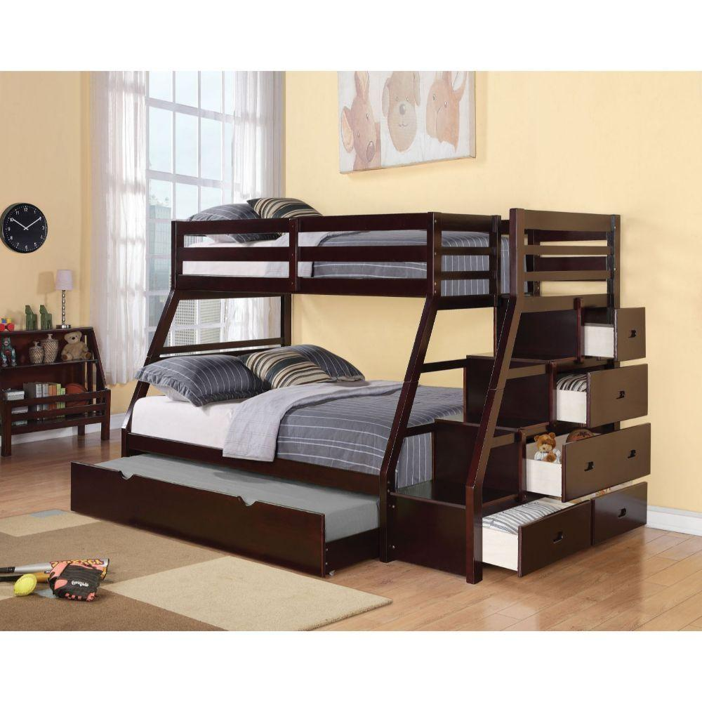 Espresso Stairway Trundle Twin over Full Bunk Bed