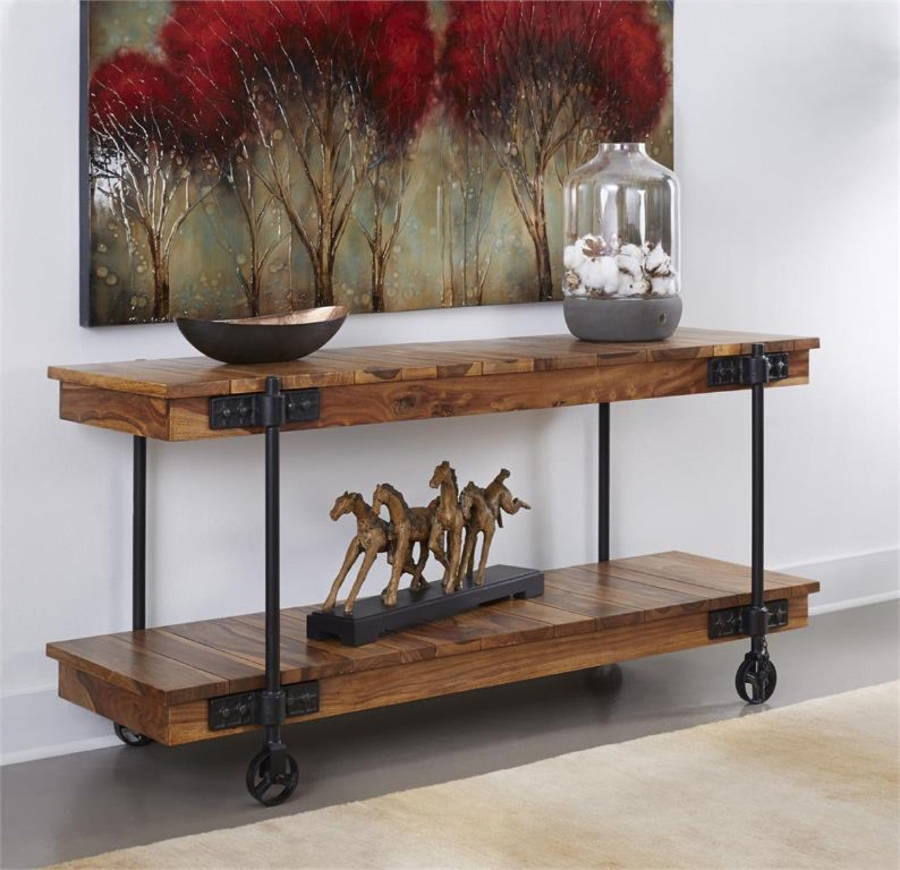 Rustic Wheeled Console Table