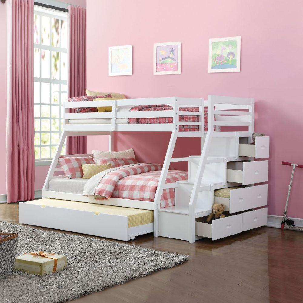 White Stairway Trundle Twin over Full Bunk Bed