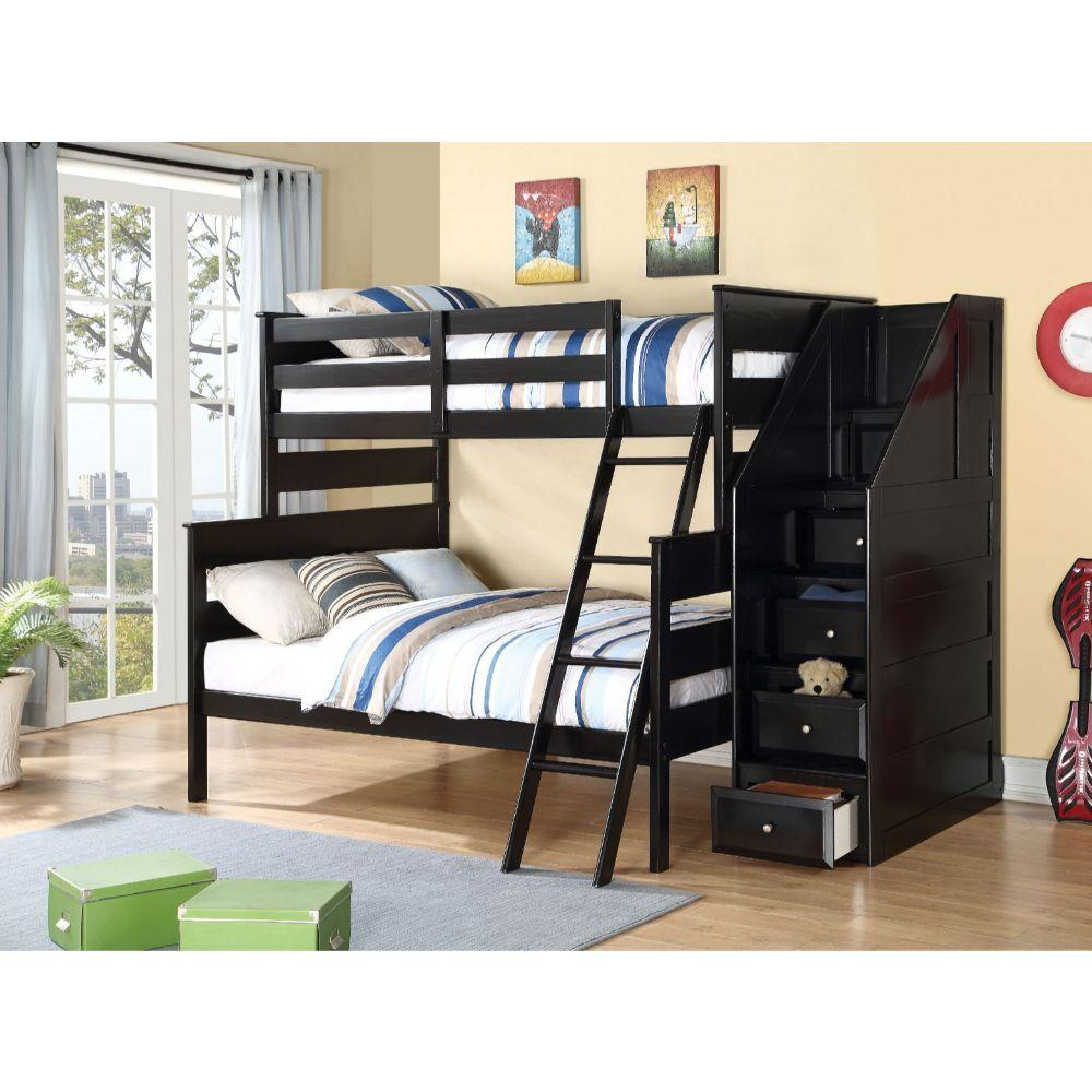 Black Storage Twin over Full Bunkbed