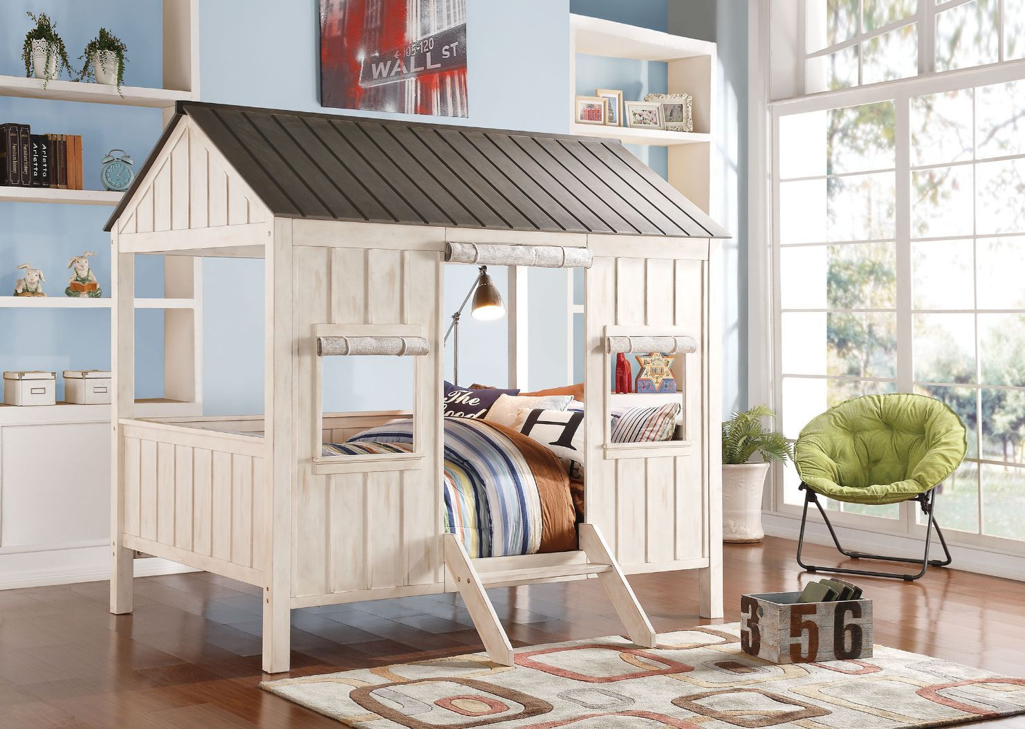 Spring Cottage Whitewash and Gray Full Size Loft Bed