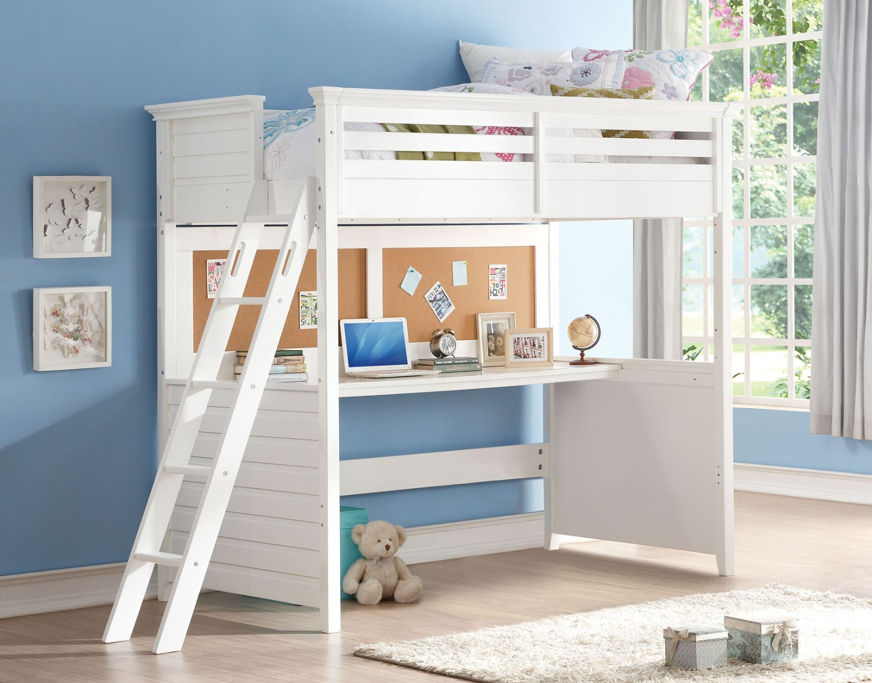 Executive Student White Loft Bed with Desk