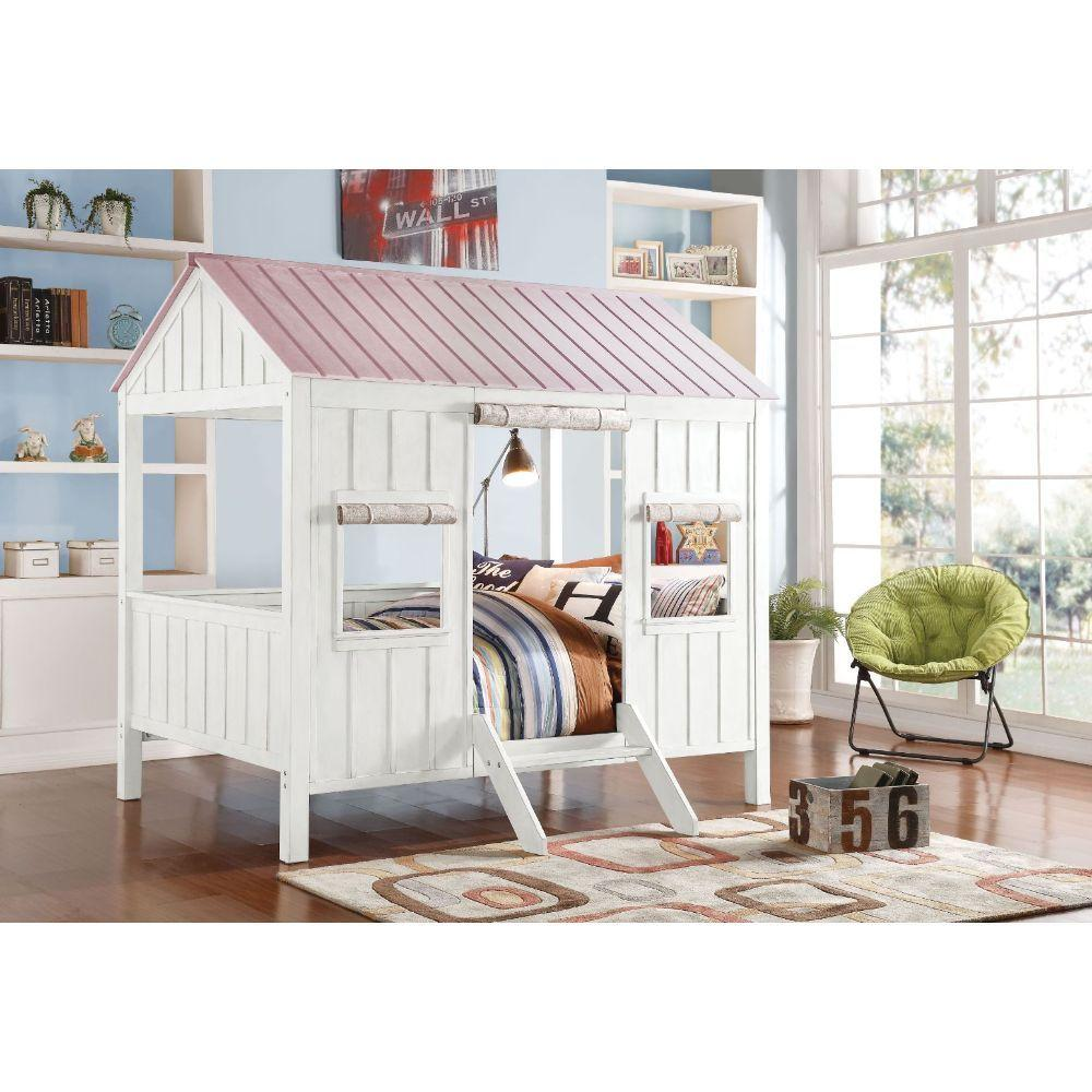 Spring Cottage White and Pink Full Size Loft Bed