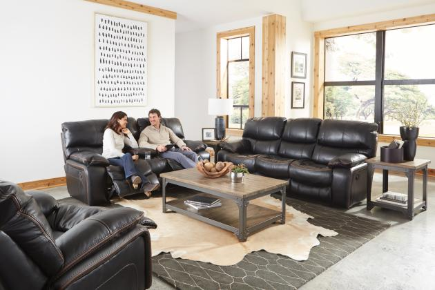 Catnapper Camden Black Reclining Sofa and Loveseat