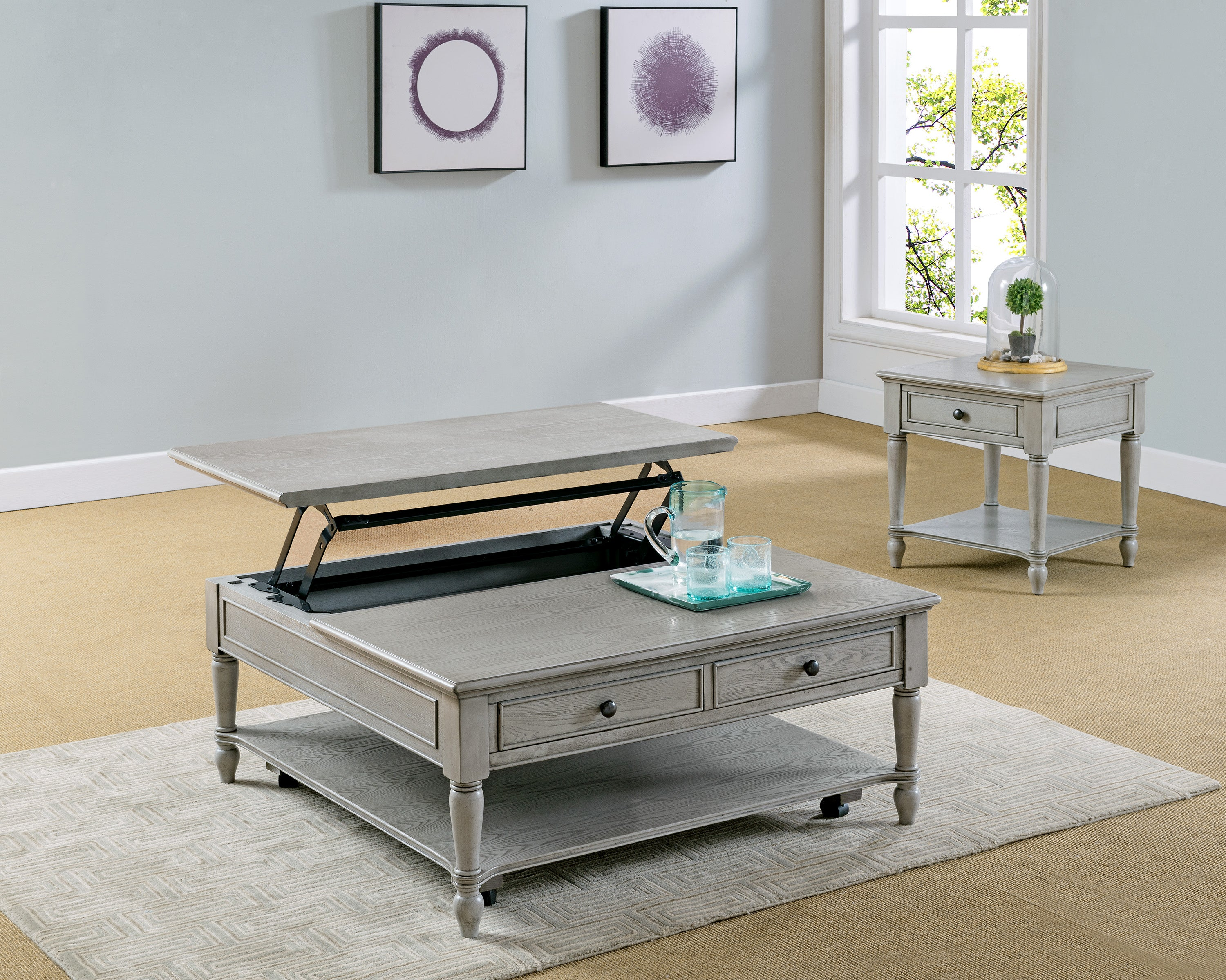 - Storage Gray Lift Top Coffee Table Set My Furniture Place