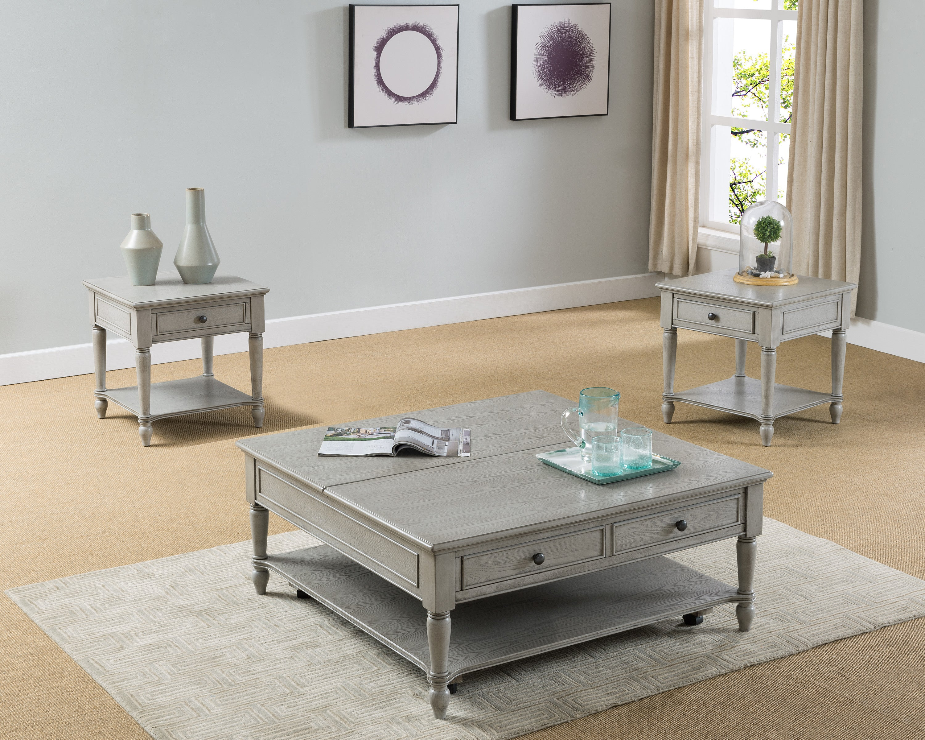 Storage Gray Lift Top Coffee Table Set My Furniture Place