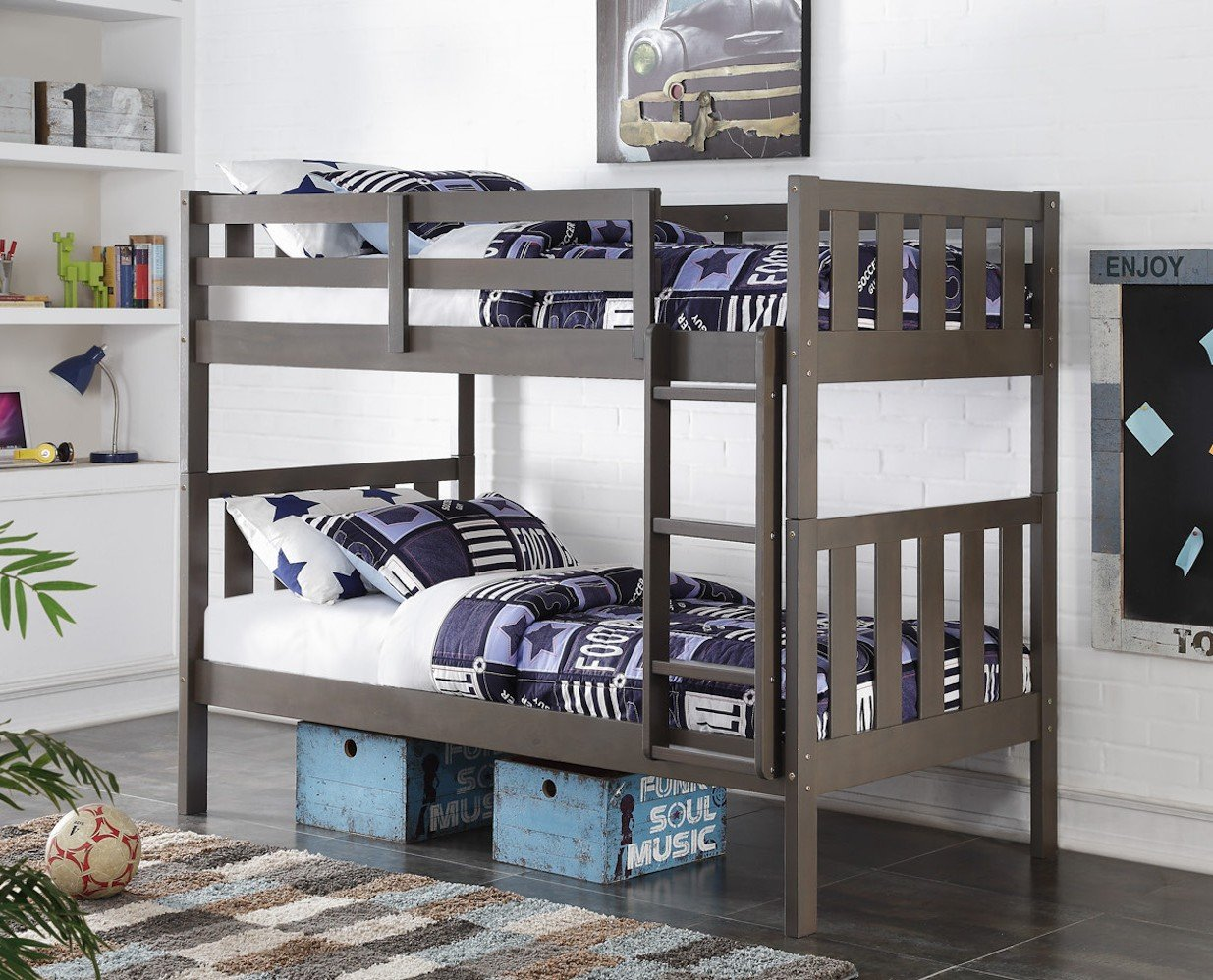 Country Gray Mission Twin over Twin Bunkbed