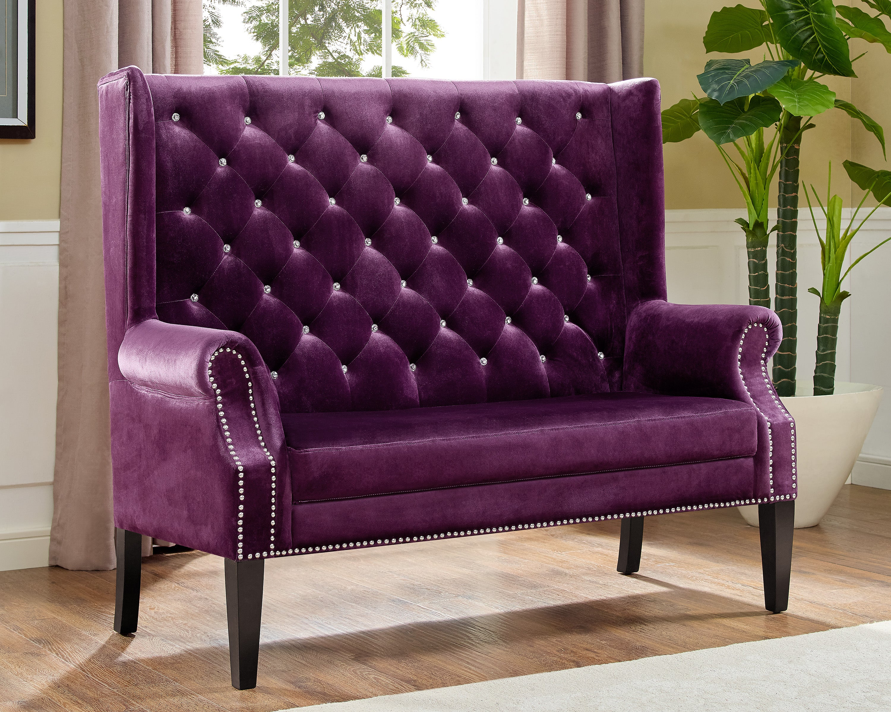 Odina Purple Tufted Accent Loveseat My Furniture Place