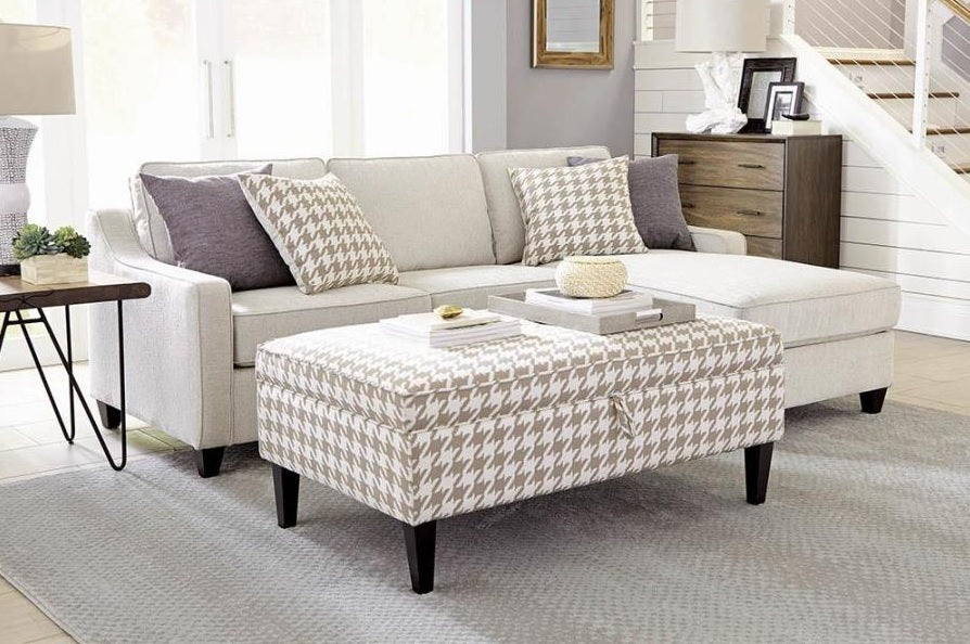 Beige and Cream Chaise Storage Sectional