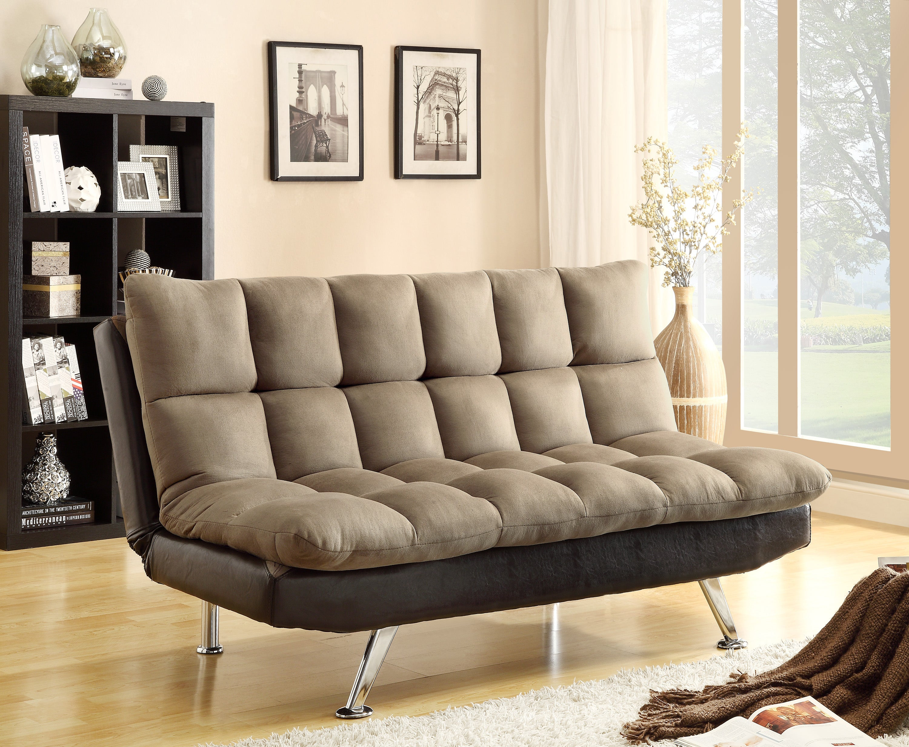 Espresso Two Tone Futon Sofa