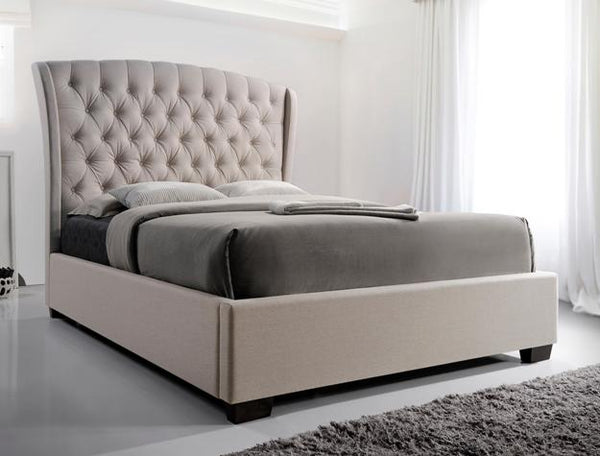 Kaitlyn Taupe Tufted Platform Bed