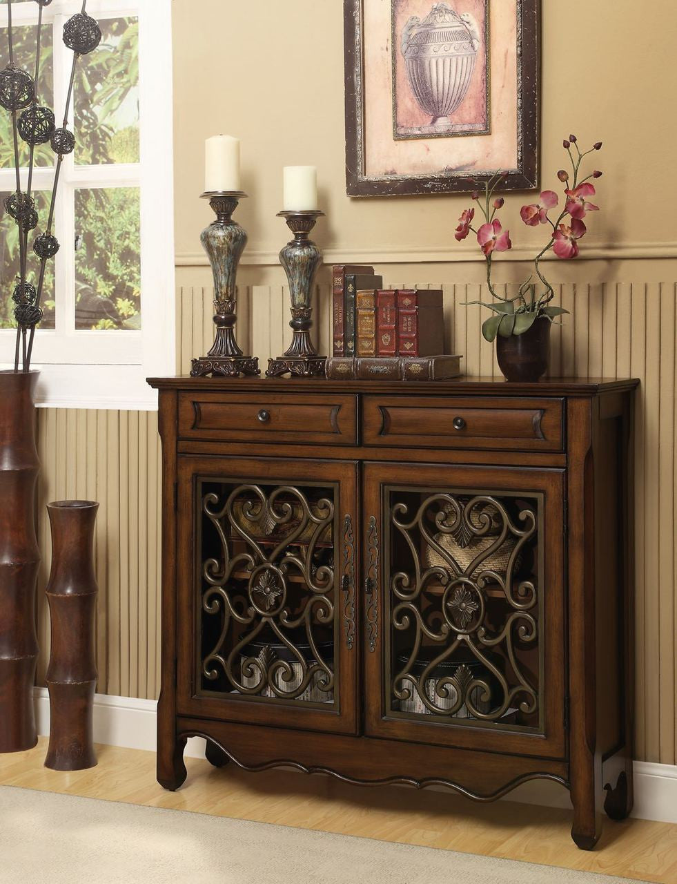 Hollin Brown Bronze Metal Cupboard My Furniture Place