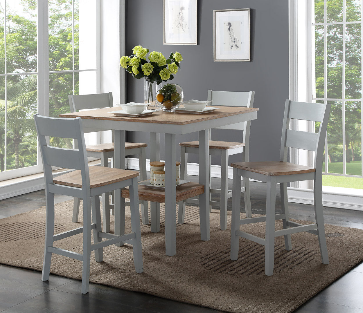York Weathered Grey Counter Dinette