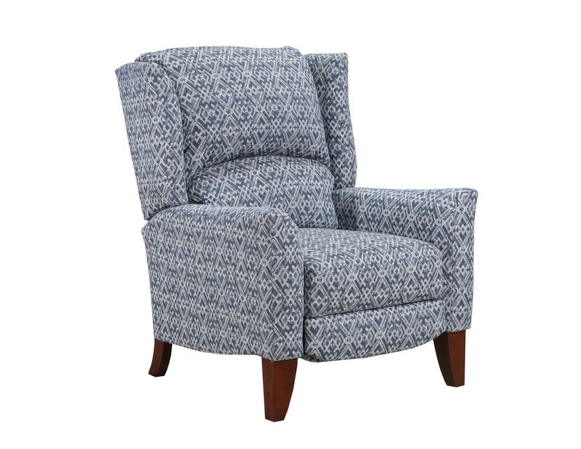 Gray and Blue Accent High Leg Recliner