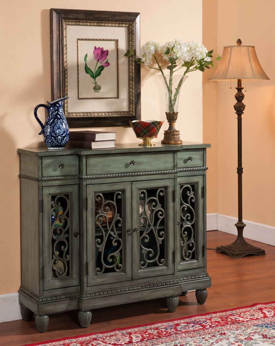 Teal Gray Metal Scroll Cupboard My Furniture Place