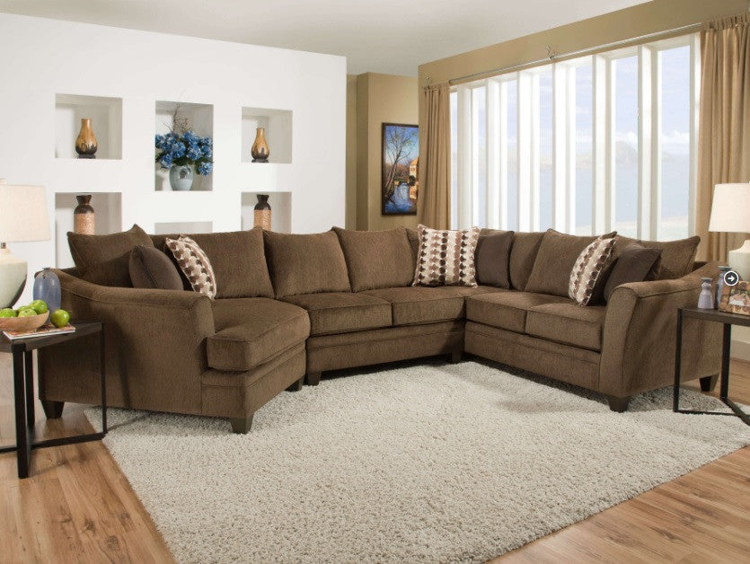 Olympian Chocolate Brown Sectional My Furniture Place