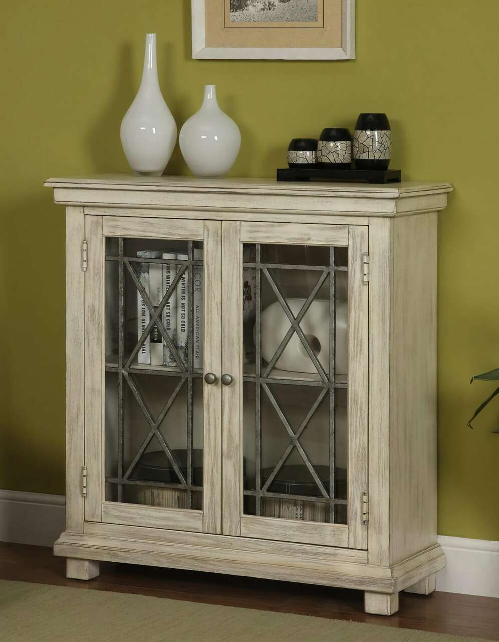 Burnished Ivory Knob Hill Cabinet
