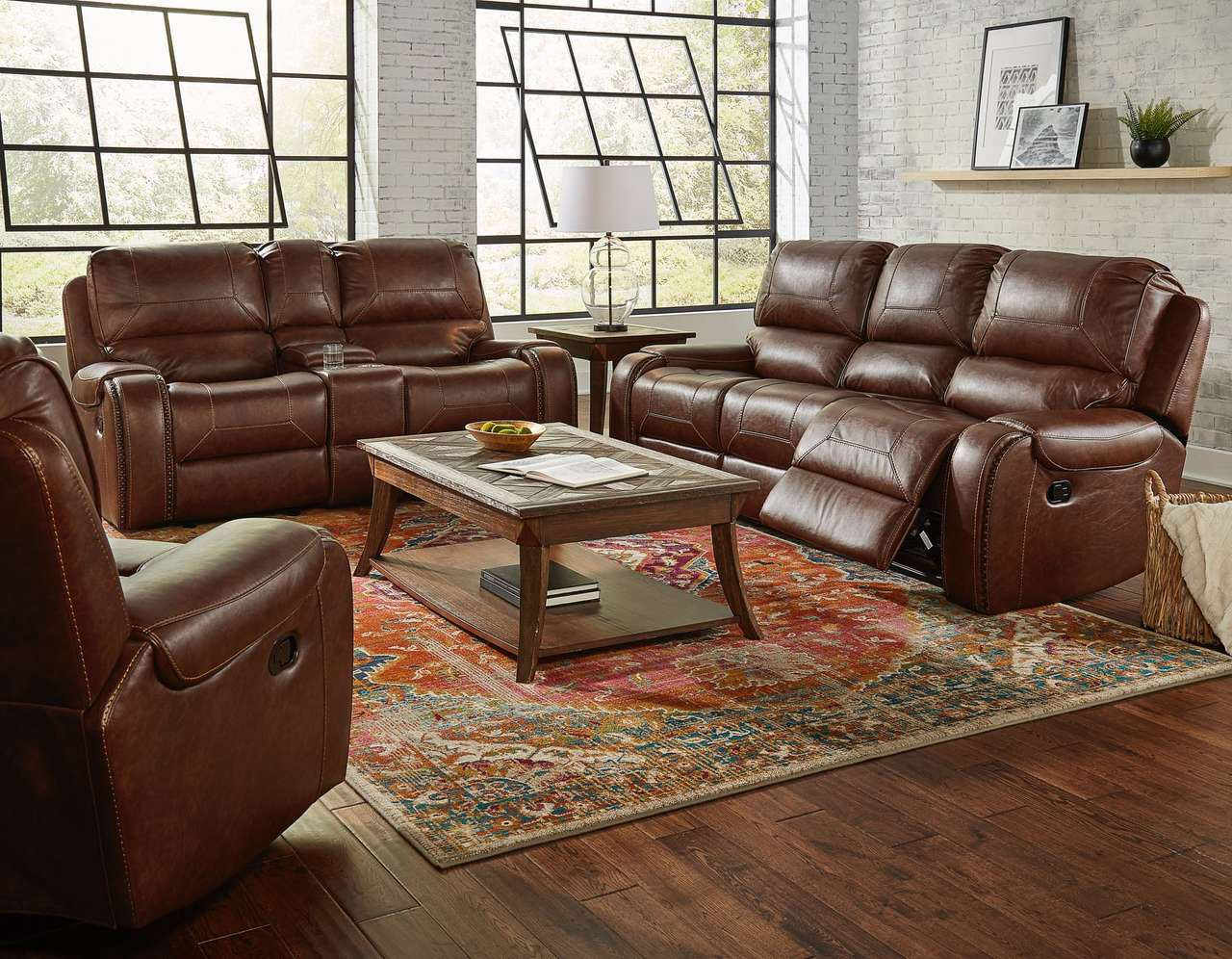 Avalanche Brown USB Reclining Sofa and Gliding Loveseat