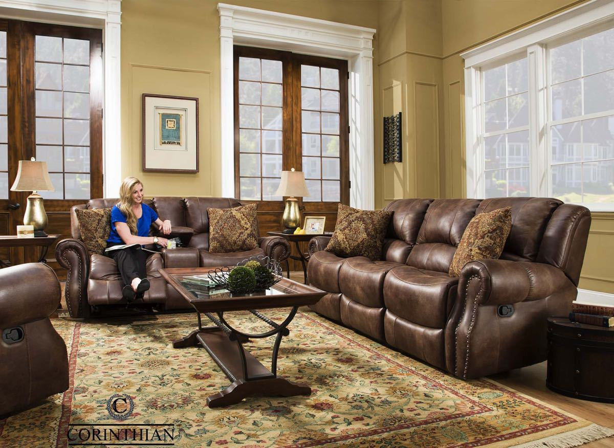 Waylon Mocha Glider Reclining Sofa and Loveseat , reclining sofa and loveseat - Corinthian Furniture, My Furniture Place