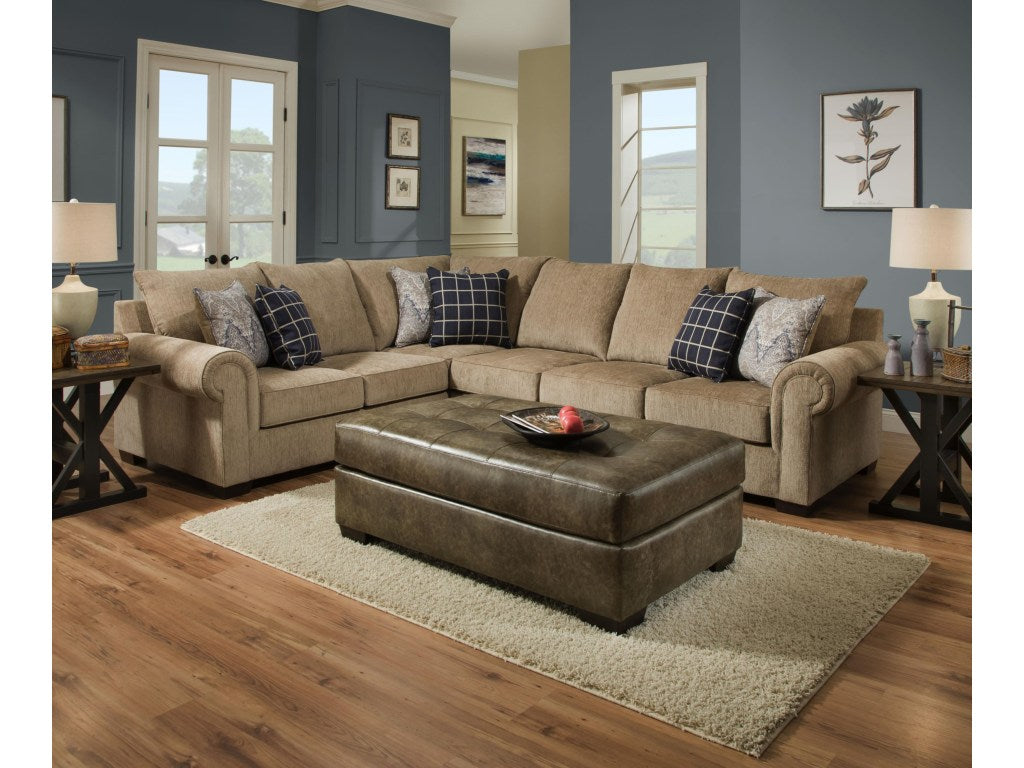 Gavin Mushroom and Blue Sectional