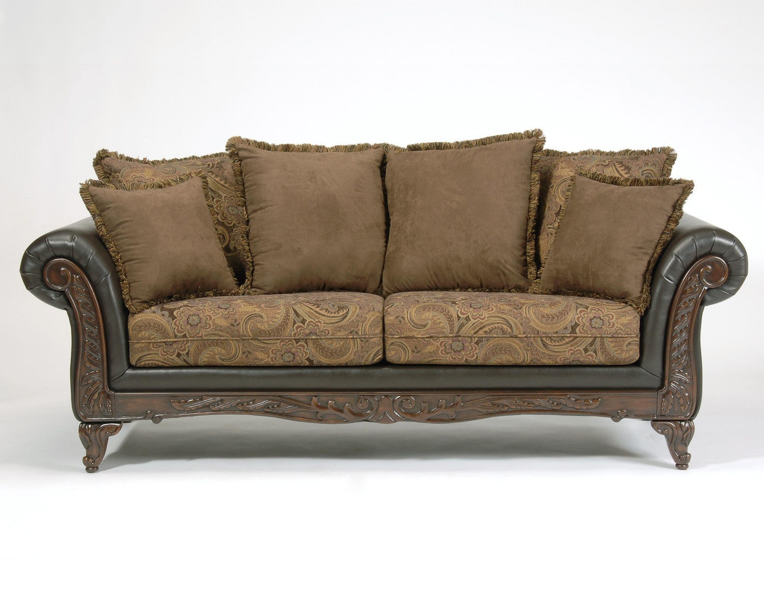 Silas Raisin Wood Trim Sofa And Loveseat By Serta