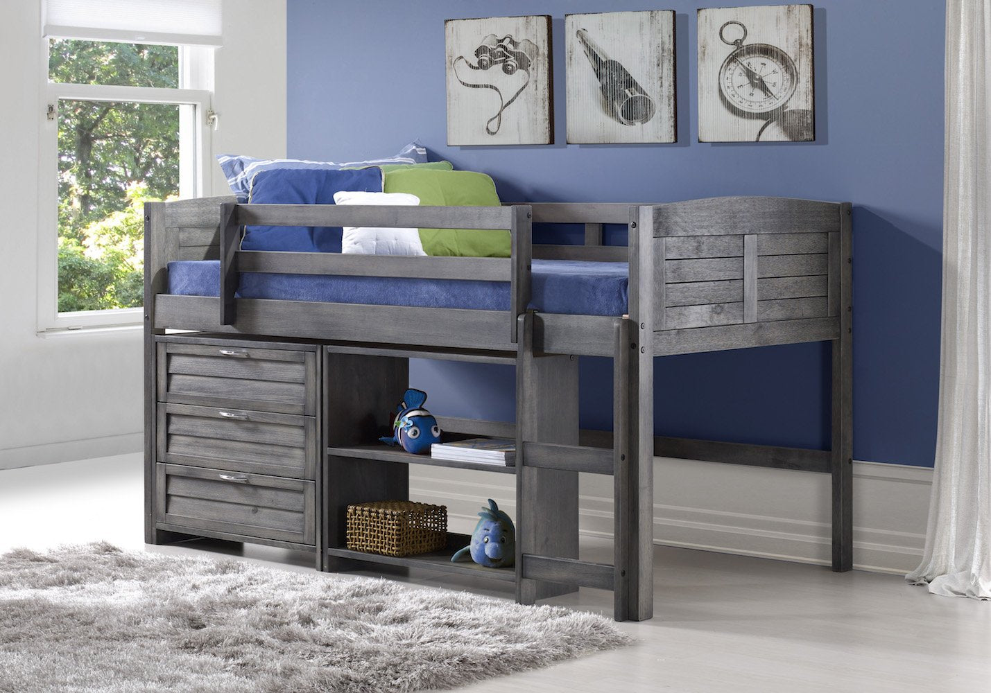 Antique Gray Low Loft Bed with Open Base