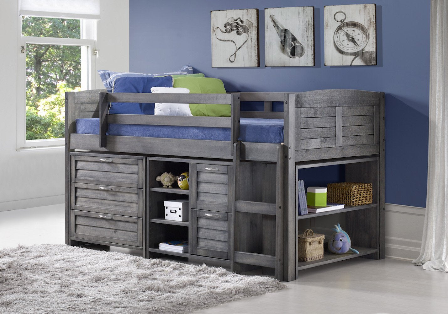 Antique Gray Low Loft Bed with Drawers
