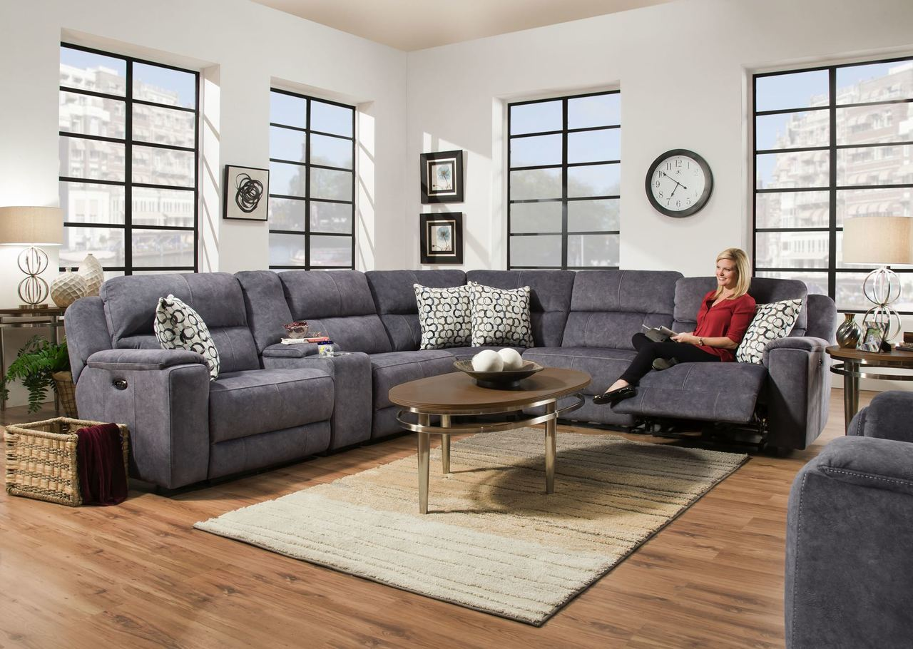 Corinthian Imprint Steel Blue Sectional
