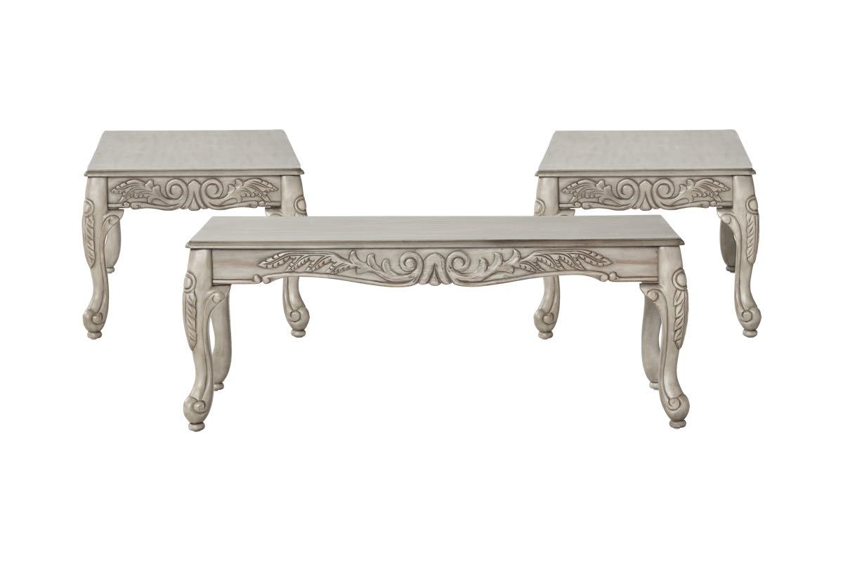 Antique Rubbed White Coffee Table Set