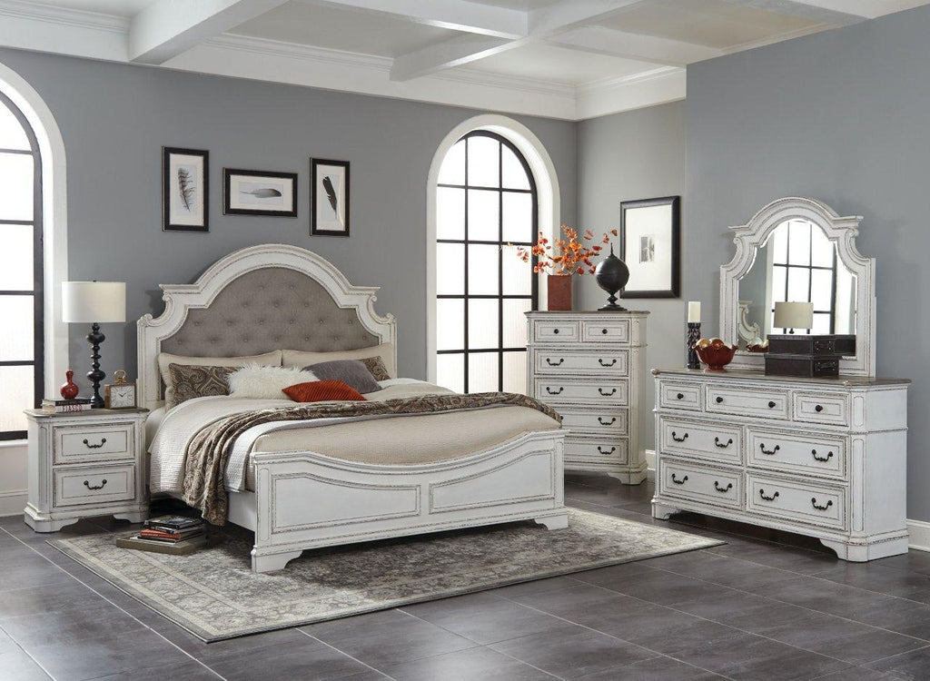 Antique White Oak King Bedroom Set