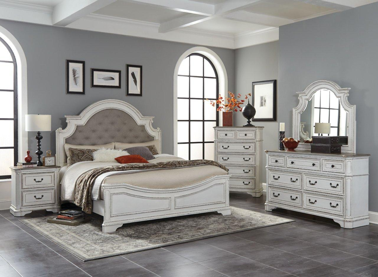 Antique White & Oak King Bedroom Set