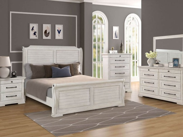 Driftwood White Sleigh King Bedroom Set