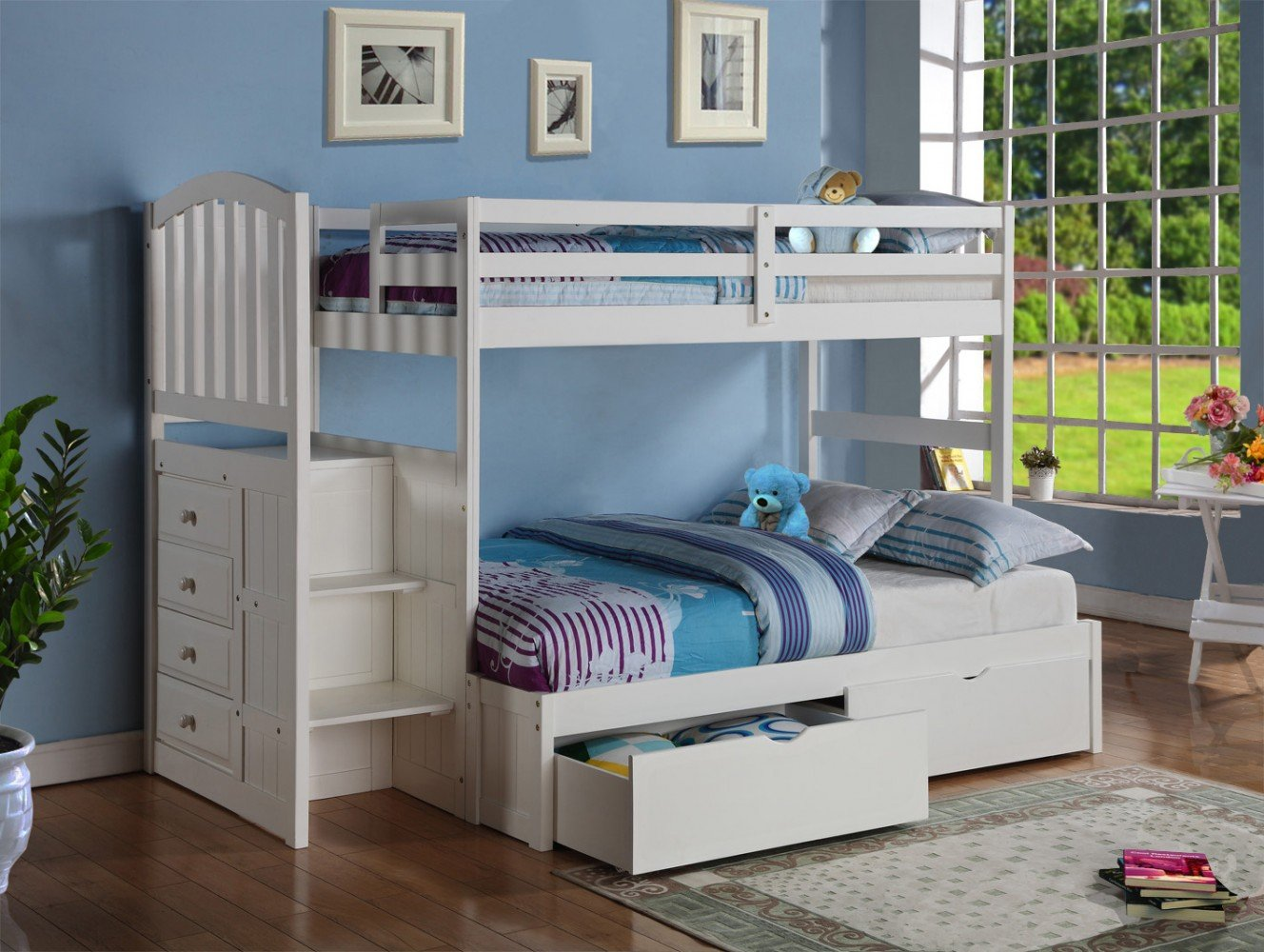 White Mission Arch Stairway Drawer Bunkbed