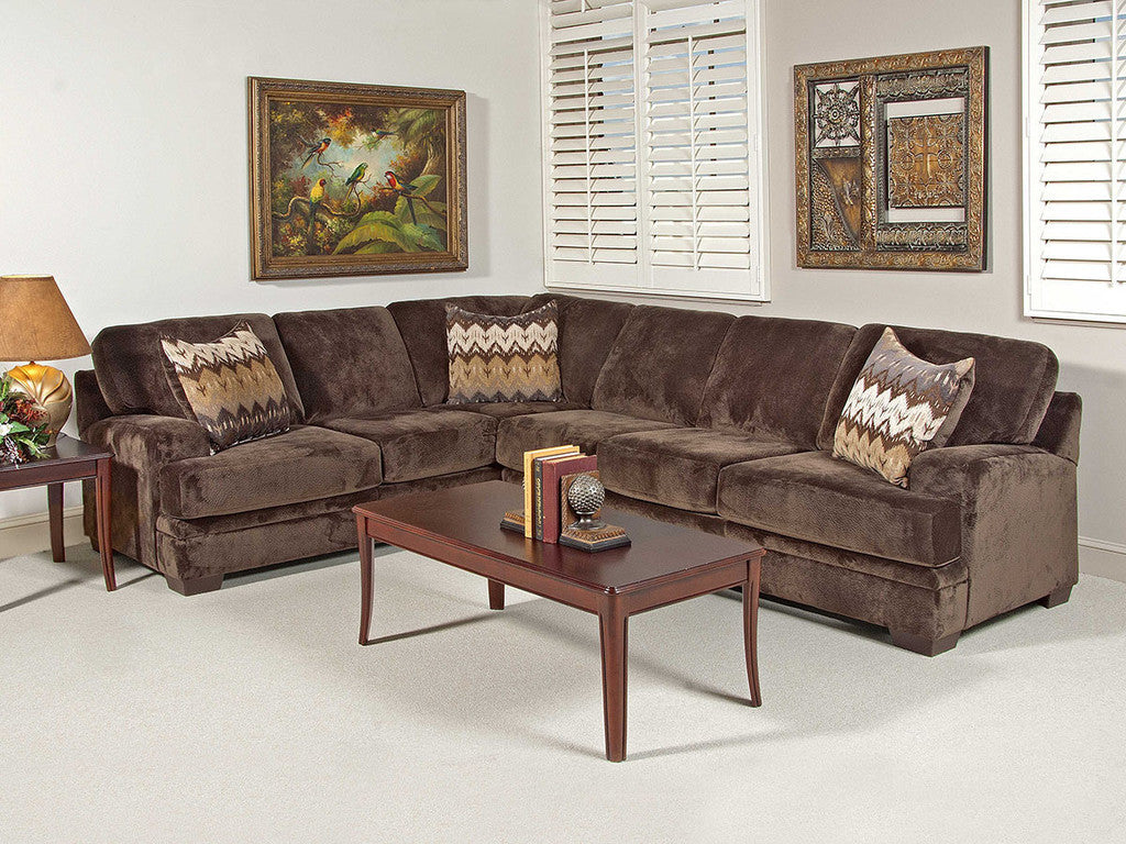 Olympian Chocolate Brown Sectional by Serta Upholstery , sectionals - Serta Upholstery, My Furniture Place
