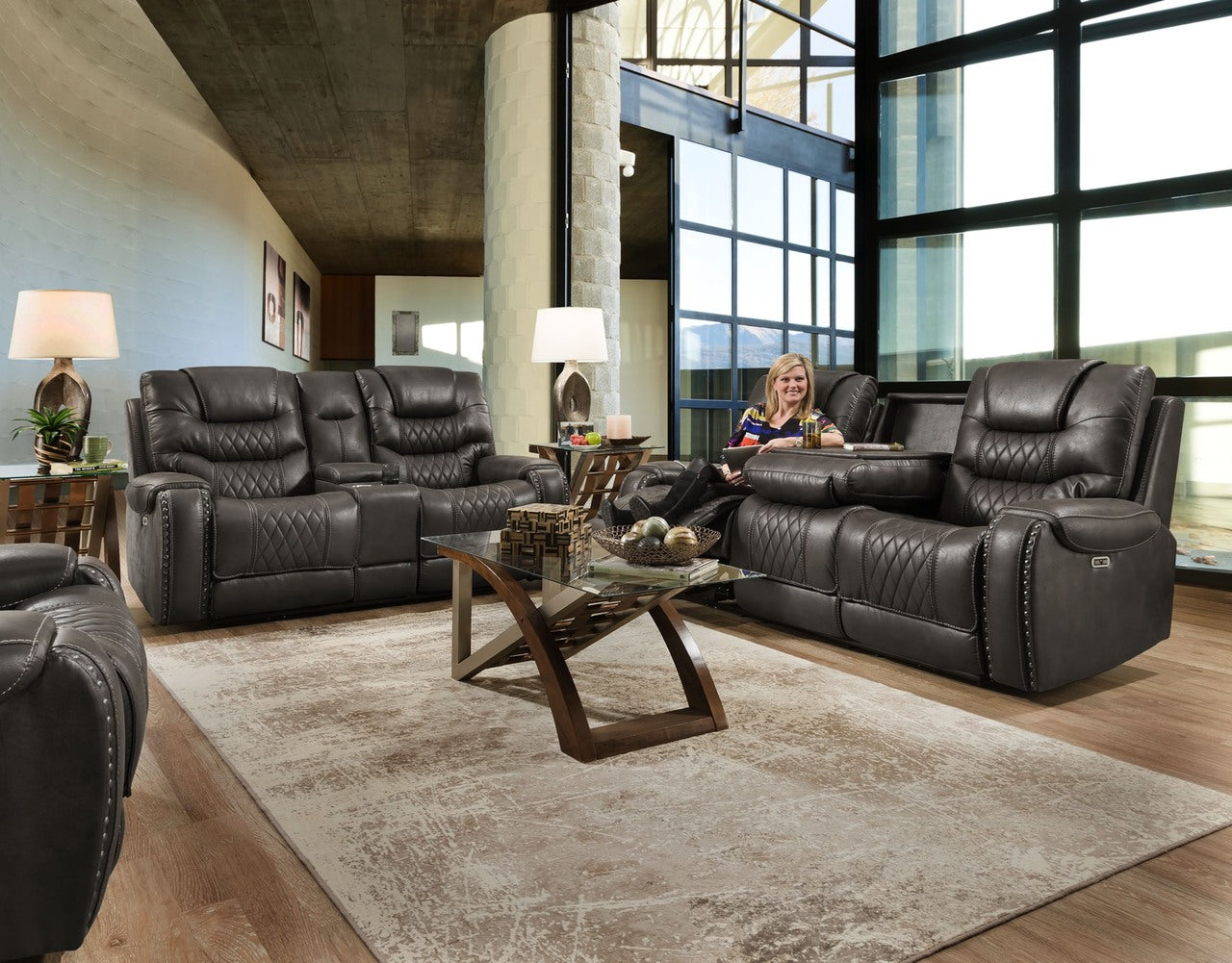 Desert Charcoal Power Reclining Sofa and Loveseat