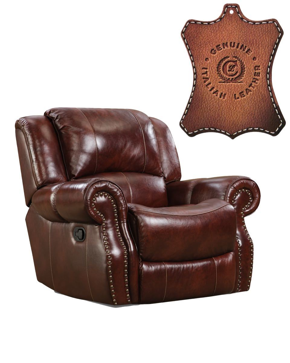 Italian Leather Oxblood Rocking Recliner