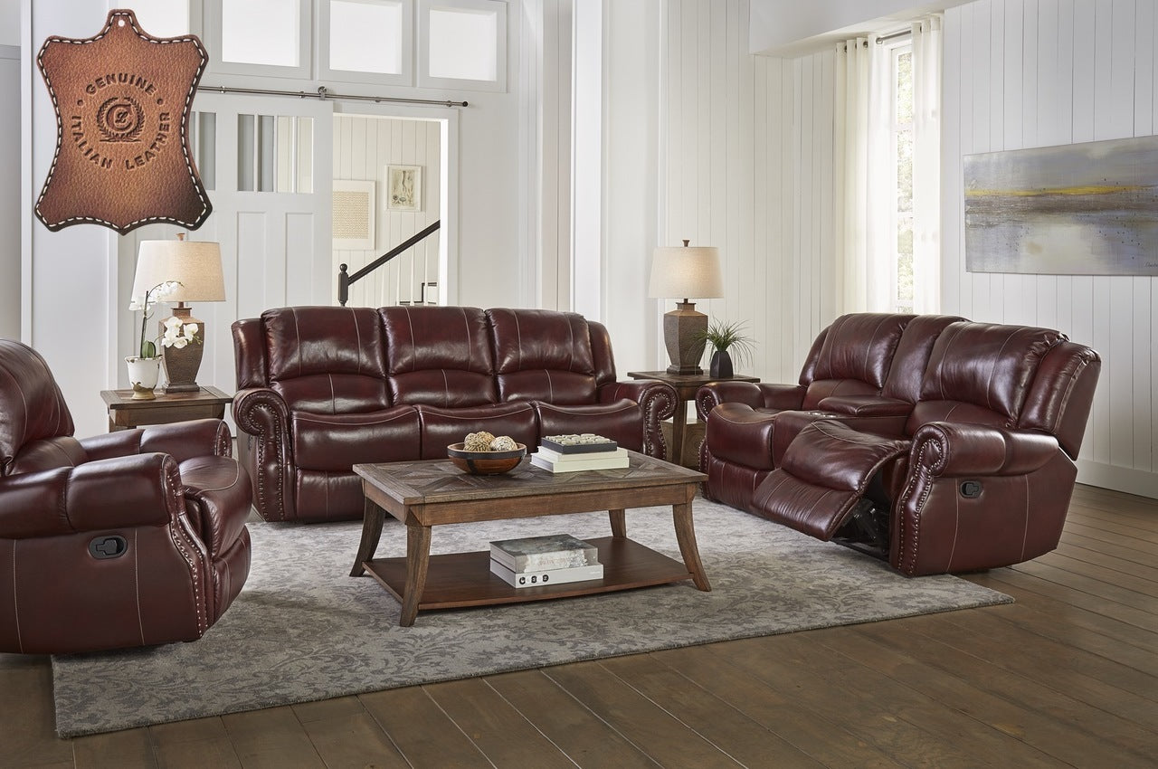 Italian Leather El Paso  Reclining Sofa and Gliding Loveseat