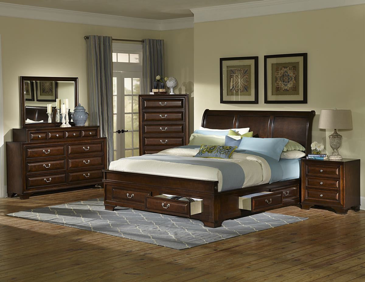 cherry bedroom set. Queen Cherry Under Storage Bedroom Set  My Furniture Place