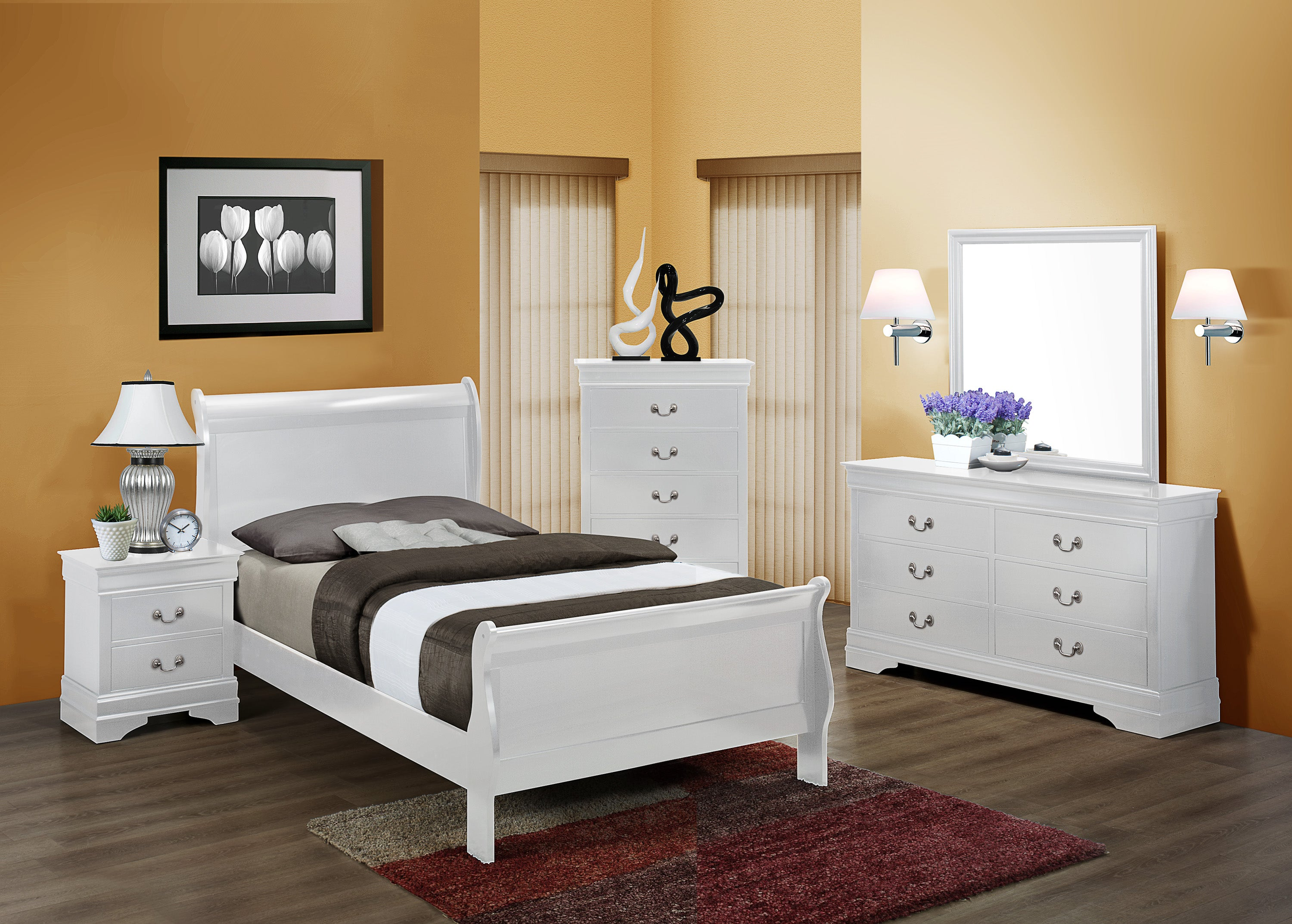 - White Twin Sleigh Bedroom Set My Furniture Place
