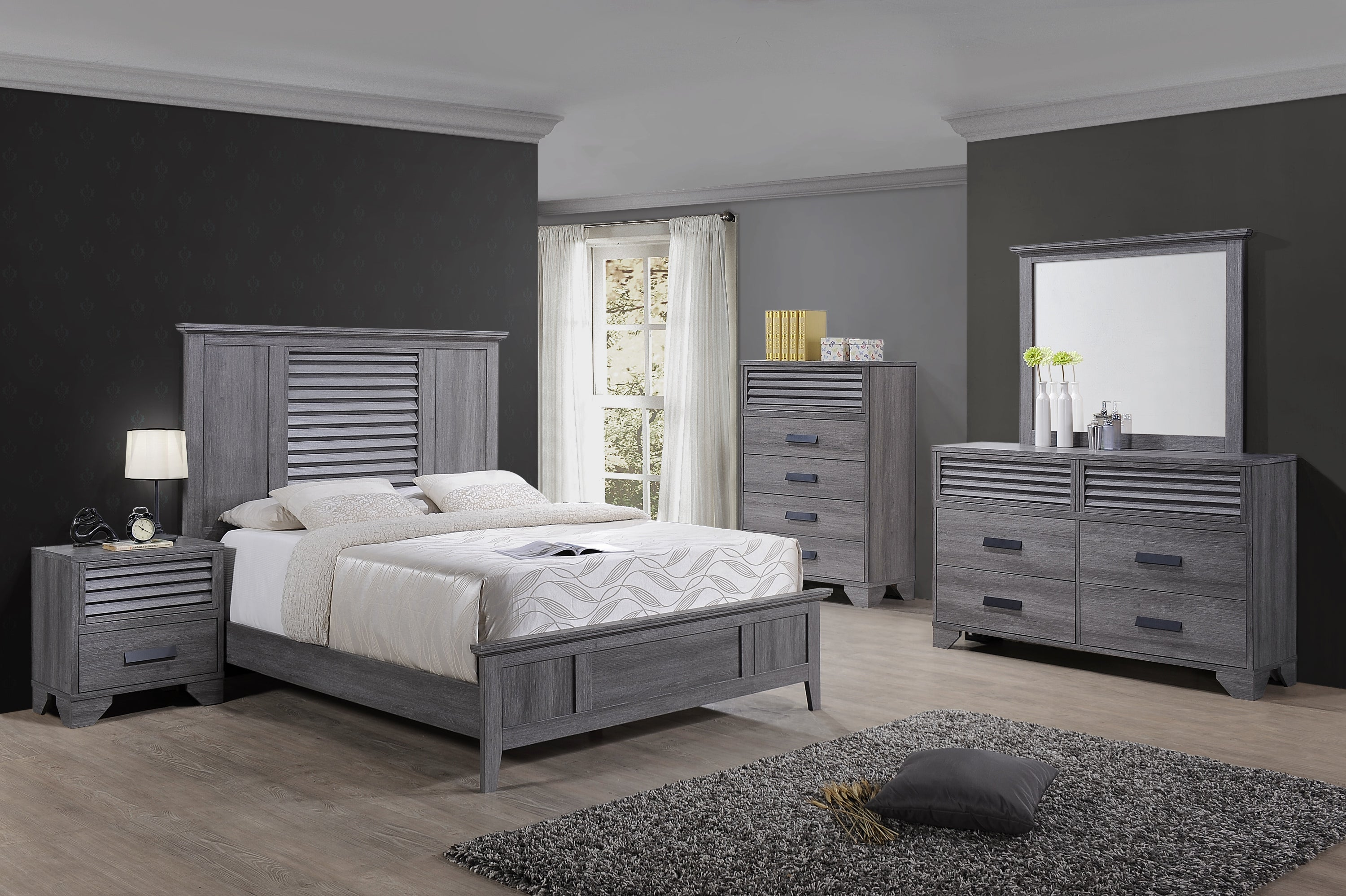 Picture of: Sarter Gray Louvered King Bedroom Set My Furniture Place