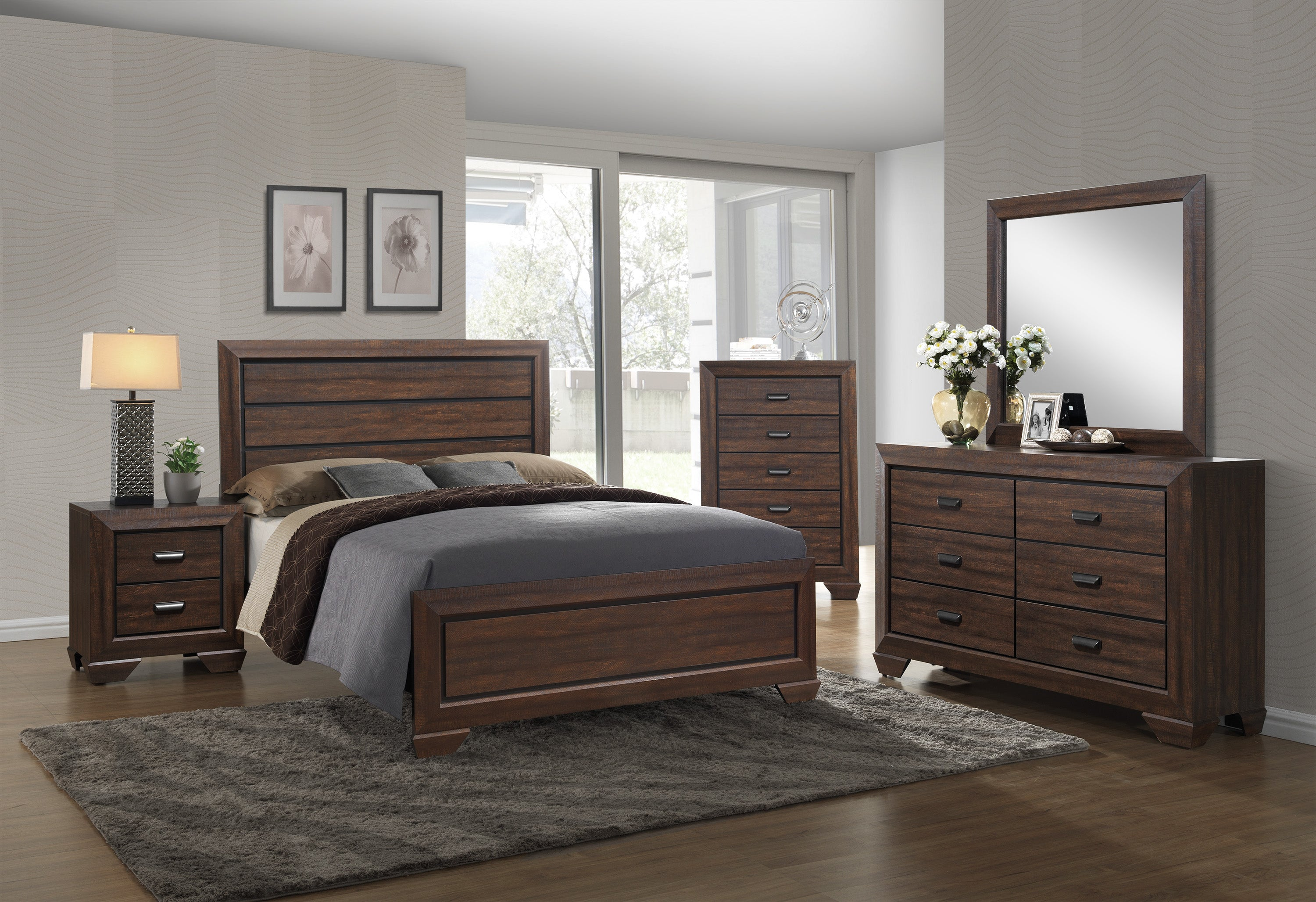 Farrow Chocolate King Size Bedroom Set My Furniture Place