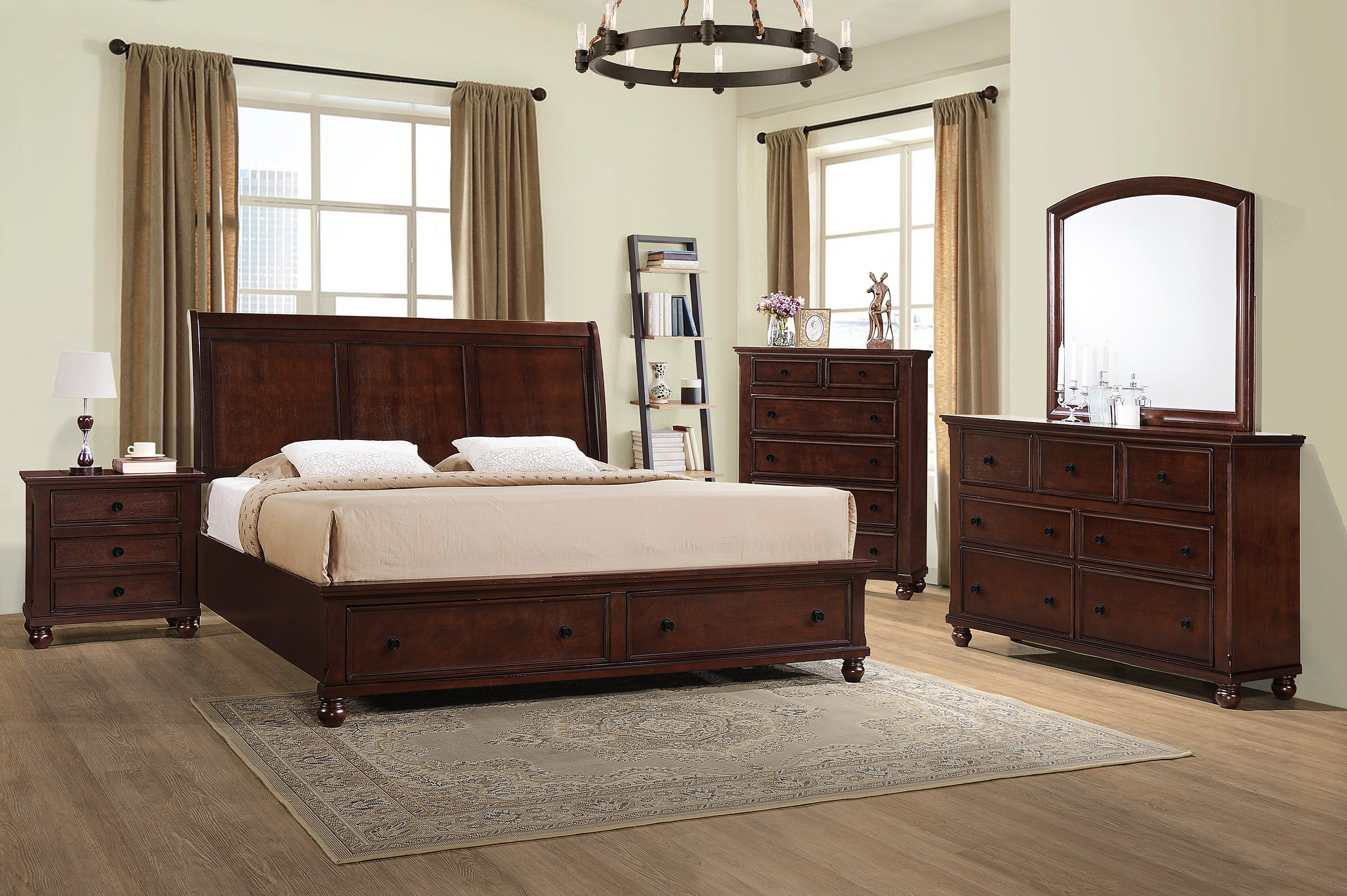 Dark Walnut Queen Storage Bedroom Set